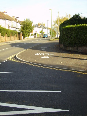 The completed route includes road tables across side roads.