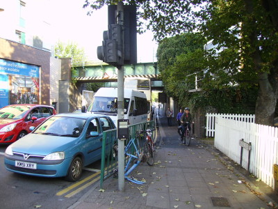 Many cyclists use the footway.